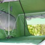 compact camping trailer roof top tent inside camping trailer