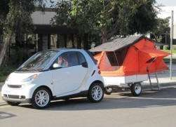 Roof Top Tent on Compact Camping Trailer Smart Car